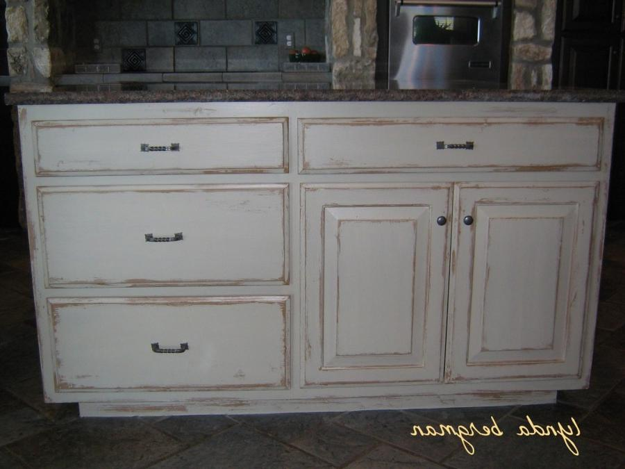 Photos of distressed wood cabinet finishes for Kitchen cabinets distressed white