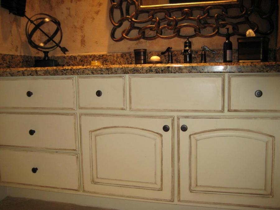 Distressed and Inked Cabinets