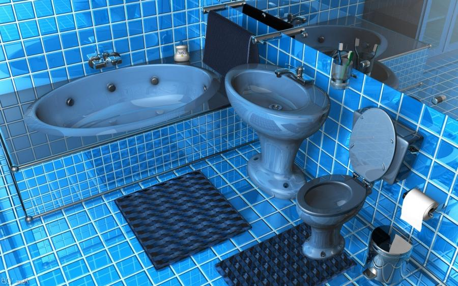 Bathroom, Admirable Glossy Blue Square Tile Bathroom Ideas Also...