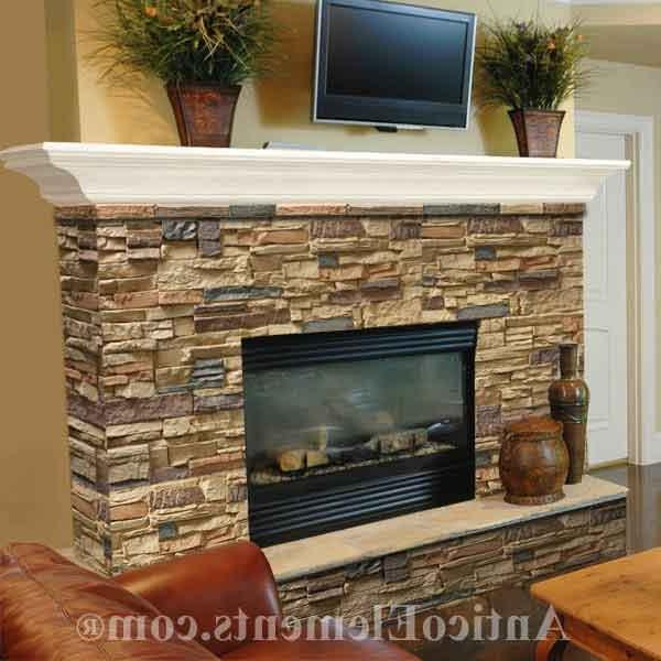 ... stacked stone fireplace veneer ...