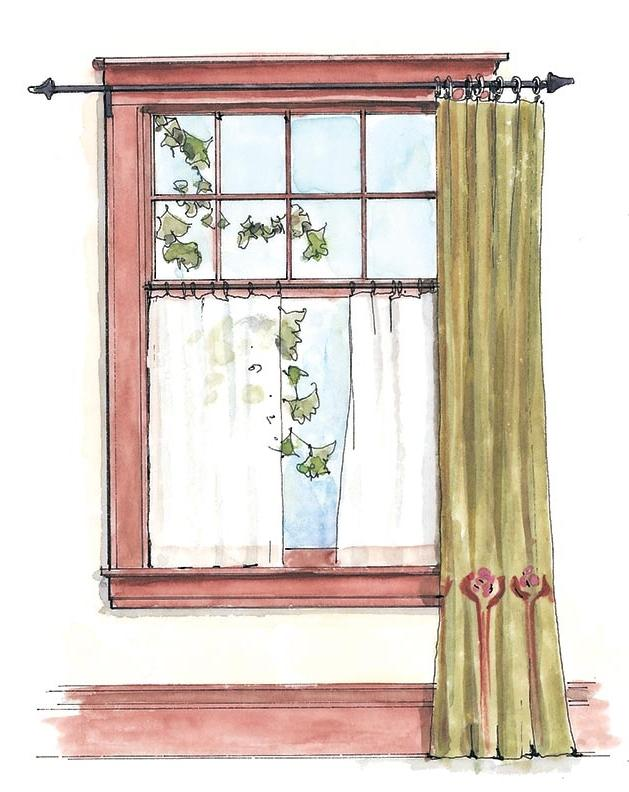 Panel over cafe curtains window treatment