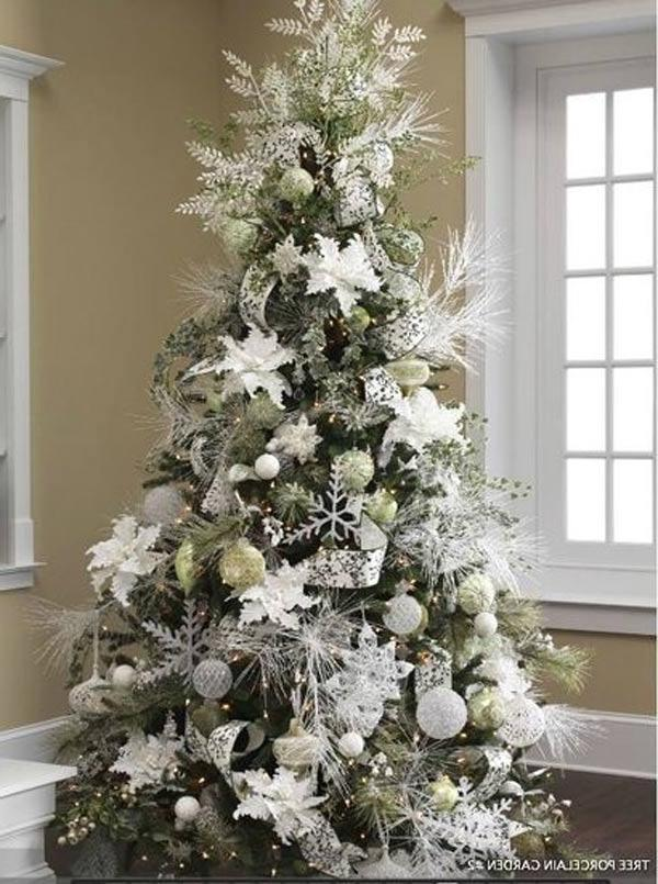 exciting silver and white christmas tree decorations Decorated...