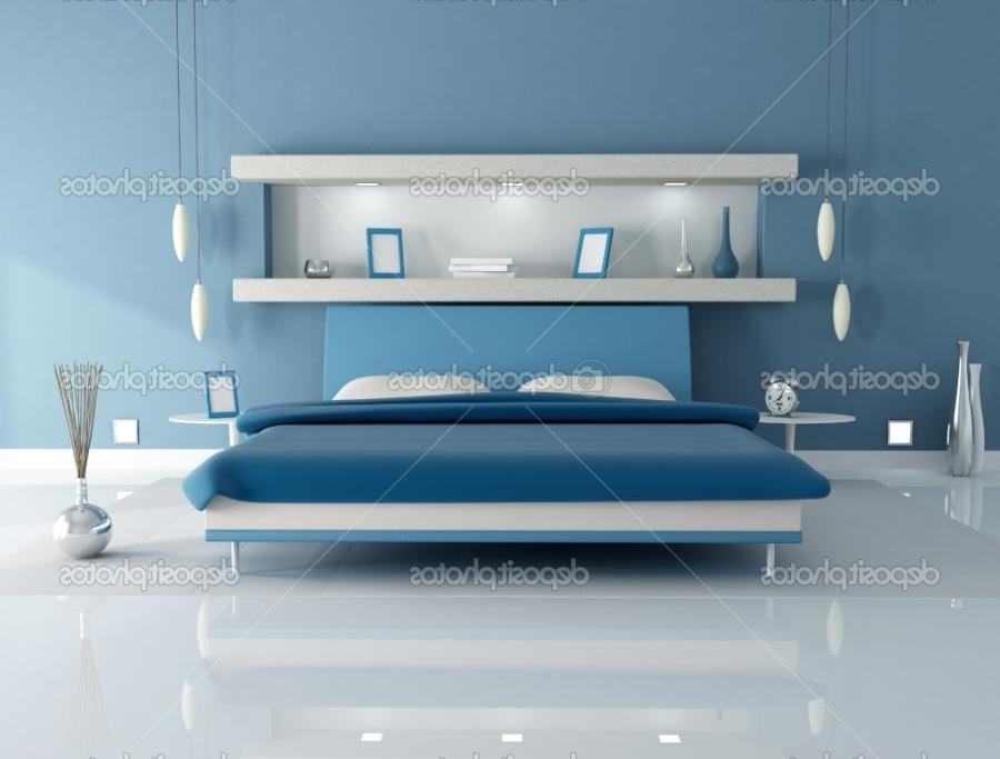 Blue Bedroom Design With Niche
