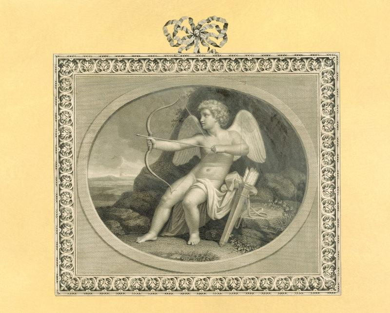 Print depicting Cupid, after Angelica Kauffman, in the Print Room...