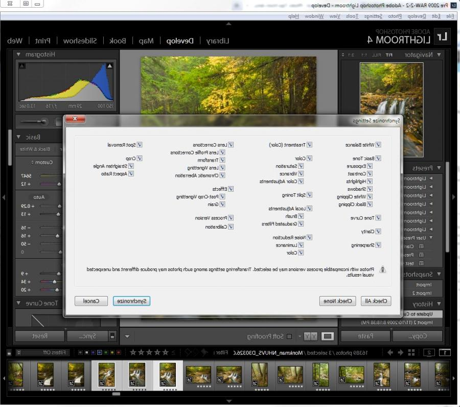 lightroom how to apply develop to multiple photos