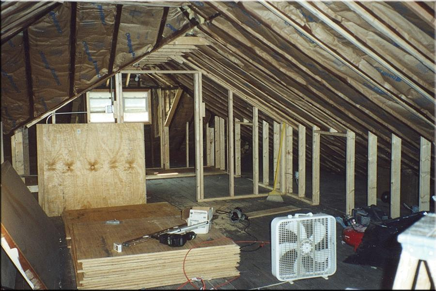 This is the attic before the remodeling project. The old frames...