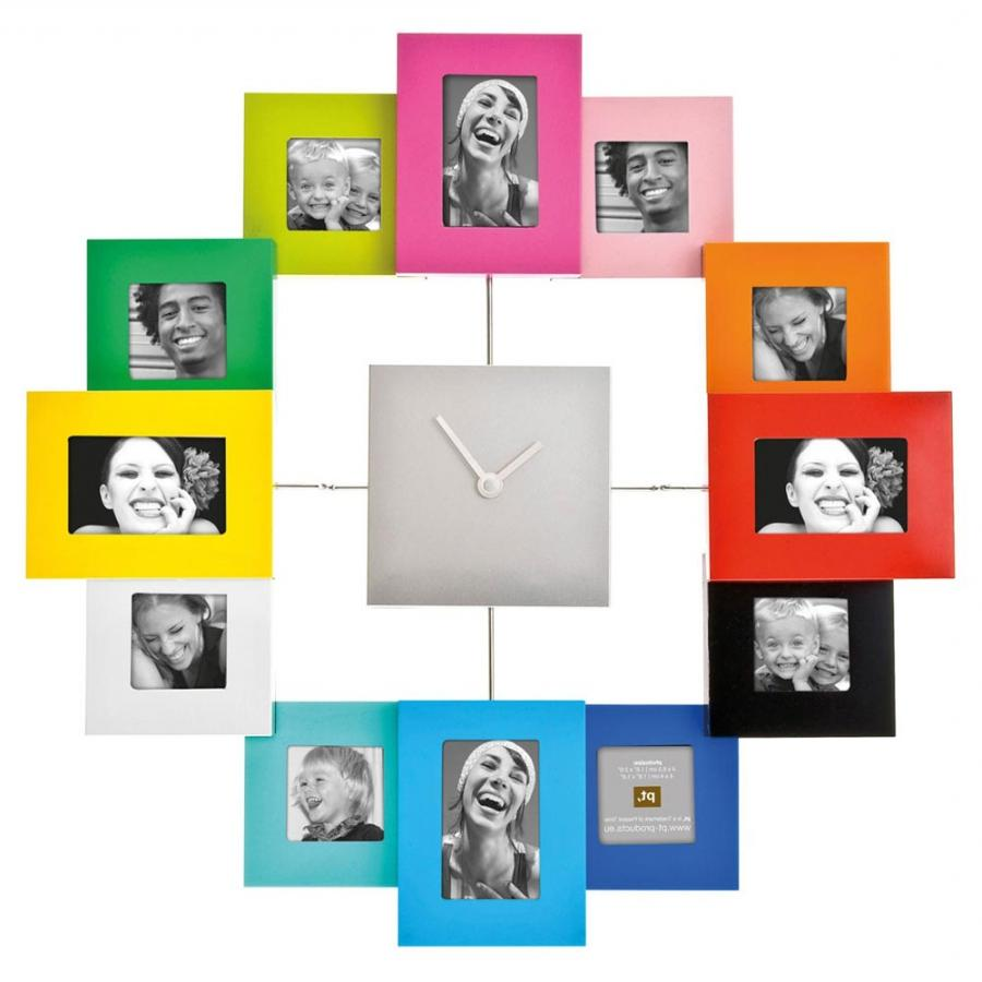 Family time photo frame wall clock
