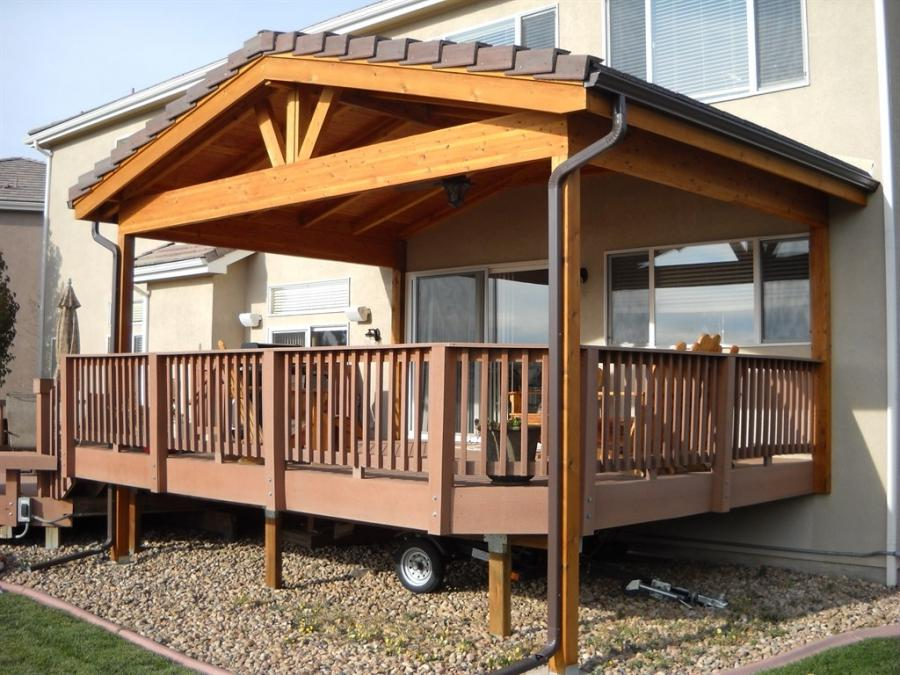 Photos of roof over deck for Patio roof plans