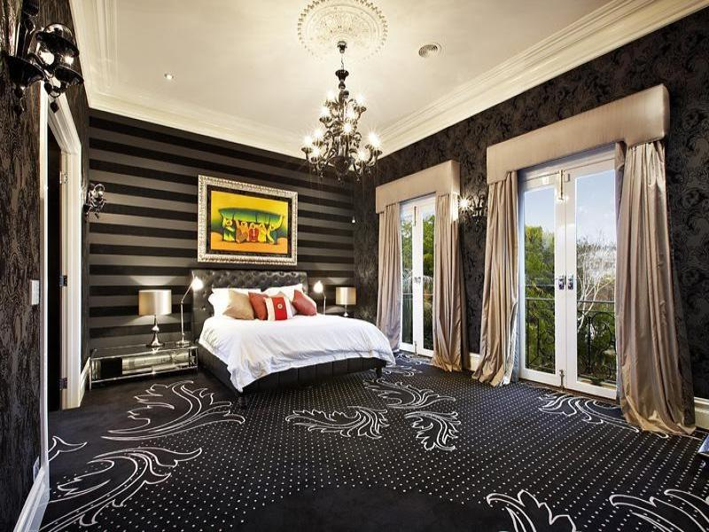 Modern bedroom design idea with carpet  french doors using white...