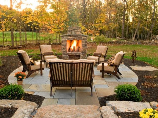 Backyard Living Source : 20 Stunning Outdoor Fireplaces  Bridgman Furniture Outdoor  source