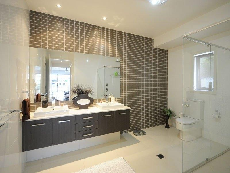 Modern bathroom design with built-in shelving using ceramic -...