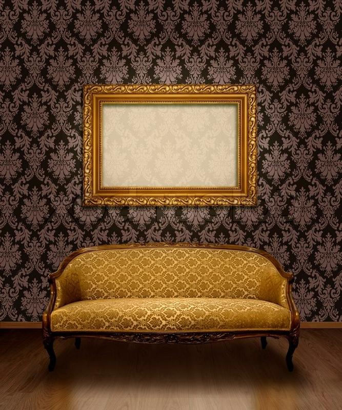 Classic Antique Sofa And Gold Plated Frame In Room With Chocolate