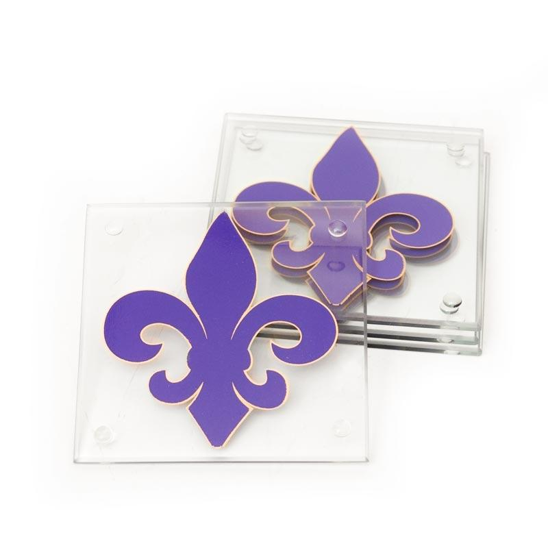 Fleur De Lis Frosted Glass Photo Coasters