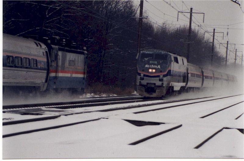 A snow scene along the Northeast Corridor. Northbound #94,...