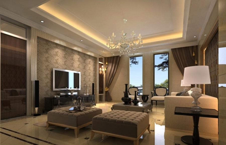 Ceiling designs photos - Decoration salon moderne taupe ...