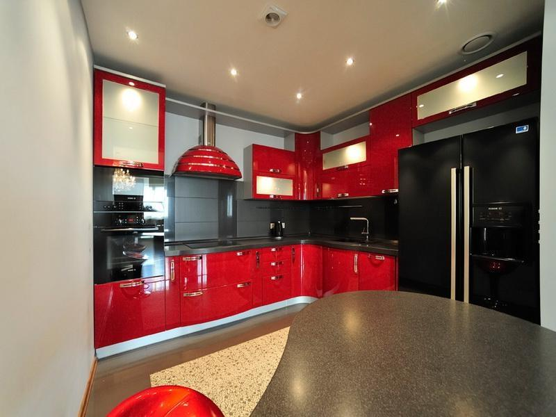 Red kithchen cabinet photos for Red kitchen ideas painting
