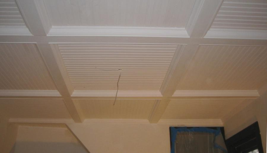 Our Dining Room Ceiling: Beadboard  Beams attached to a plywood...