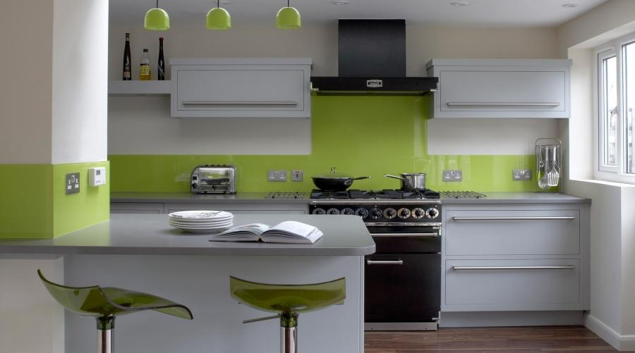 Linear Kitchen With Lime Green Splashback source