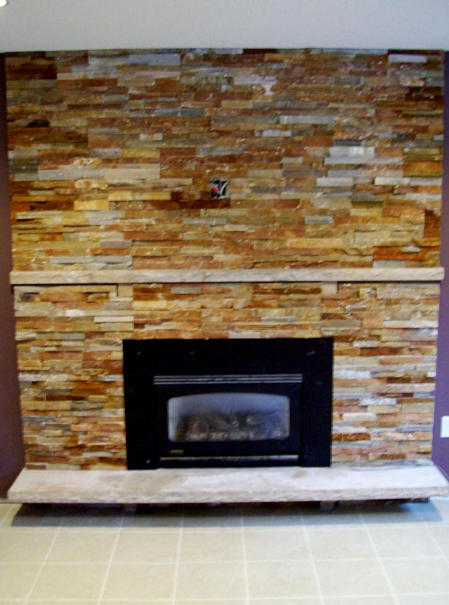 Interior Amazing Stacked Stone Fireplace With Small Black...