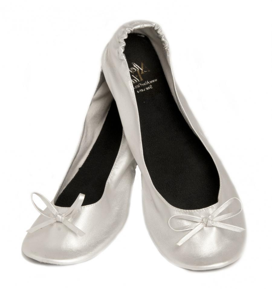 Silver u0026#39;n Sassy Foldable Flats w/Matching Clutch and...