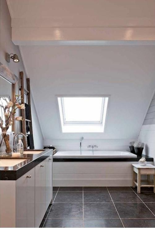 Sloped Bathroom Ceiling - Transitional - bathroom - Mi Casa