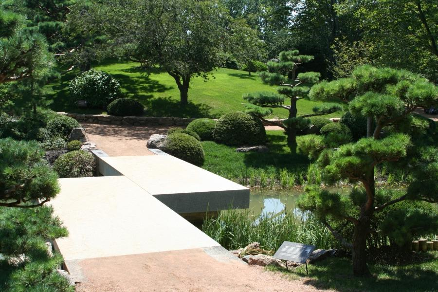 Chicago Botanic Garden, with a view of the Zig Zag Bridge.