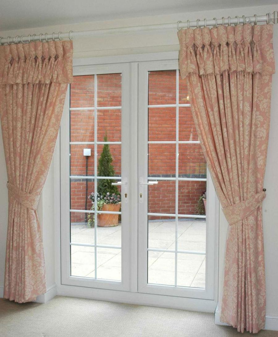 ... A Stylish Window Treatment For French Door Ideas: Simple Pink...
