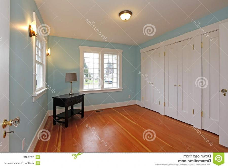 BLue room with cherry floor and white closet doors
