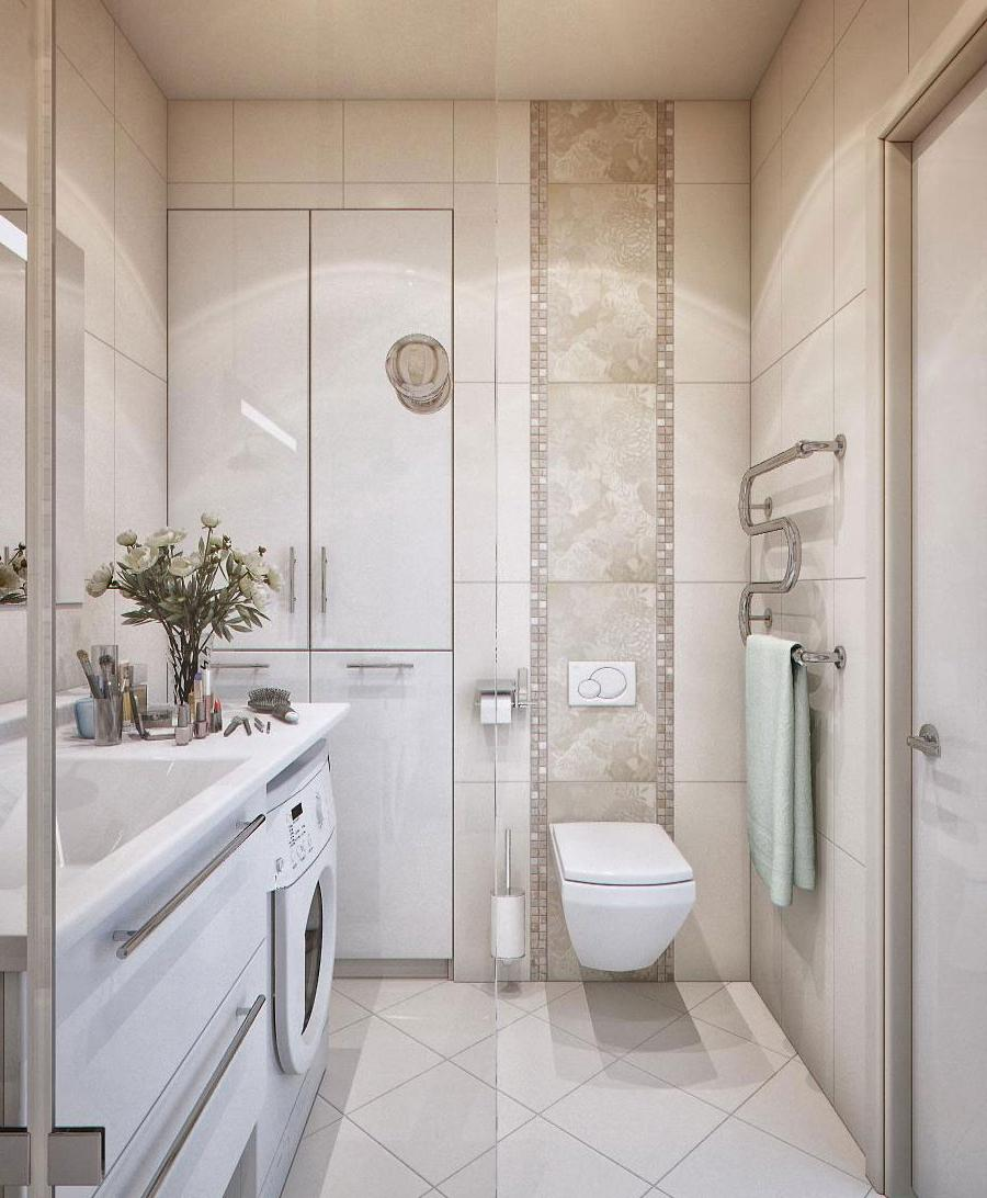 Inspiring Vertical Small Bathroom Design With Wash Mchine...