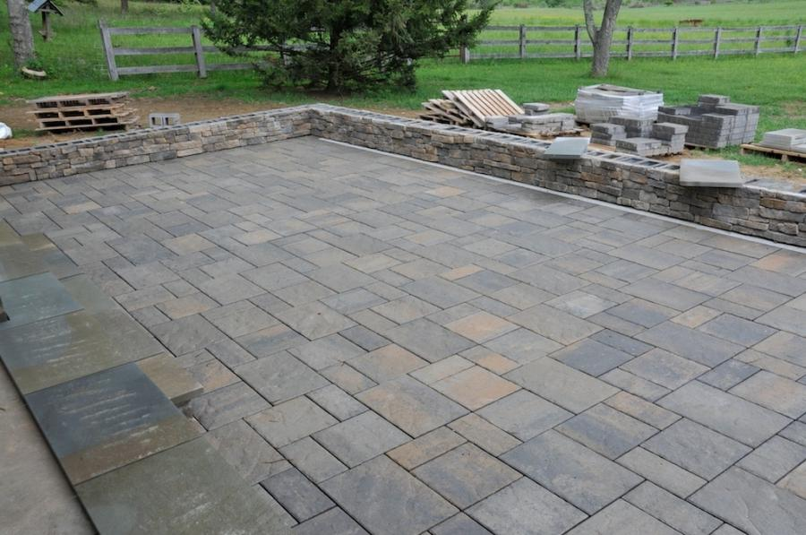 Patio Pavers Stones : Cultured stone and pavers complete on the pergola patio interior