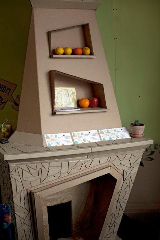 Cardboard Fireplace Photo