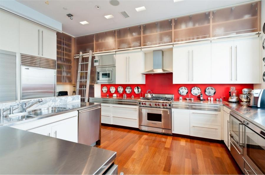 Exclusive Design Black And White People Face Red Kitchen Wall