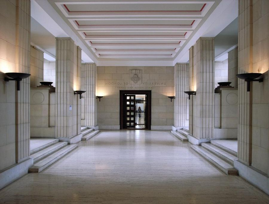 Spacious White Hallway Of Senate House Lighted With Lantern...