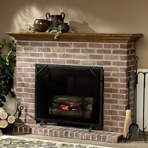 brick fireplace mantel photos
