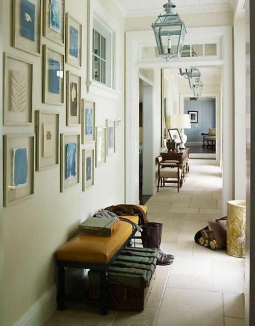 This hallway has two great ideas for any hall: a gallery wall and...