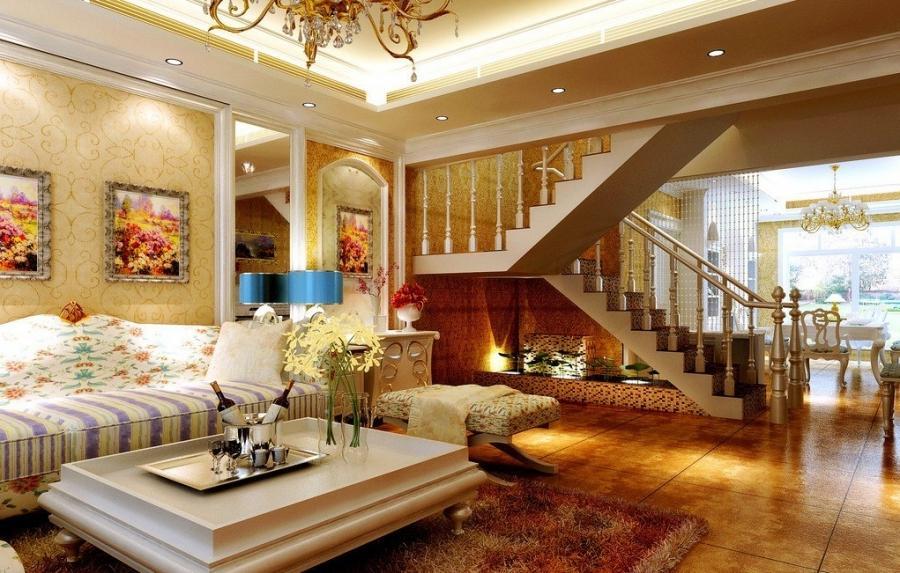 Duplex house photos interiors for Duplex house living room designs
