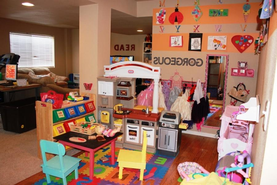 Awesome Salmon Kids Playroom Design Inspiration with Colorful...