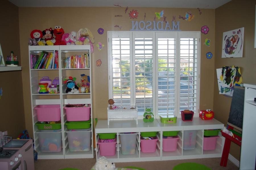 Adorable Tan Kids Playroom Design Inspiration with White Cupboard...