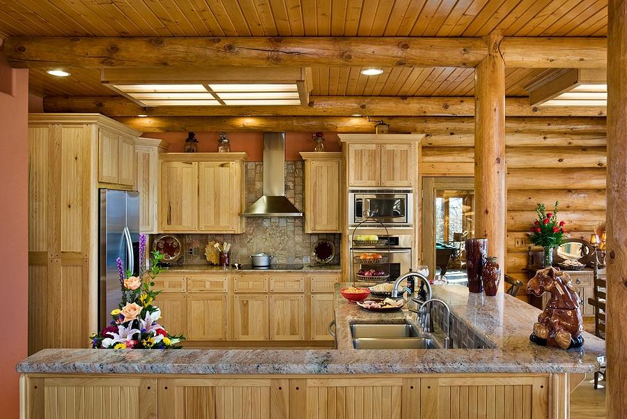 Log cabin kitchen photo for Log home kitchens gallery