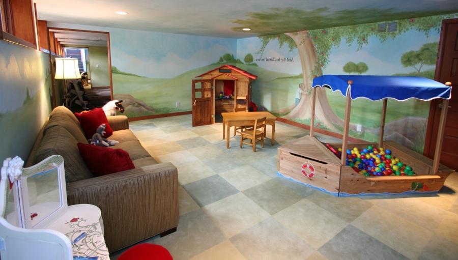 Magical hillside childu playroom with adult spaces and tree...