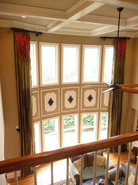 Two story family room photos for 2 story family room window treatments
