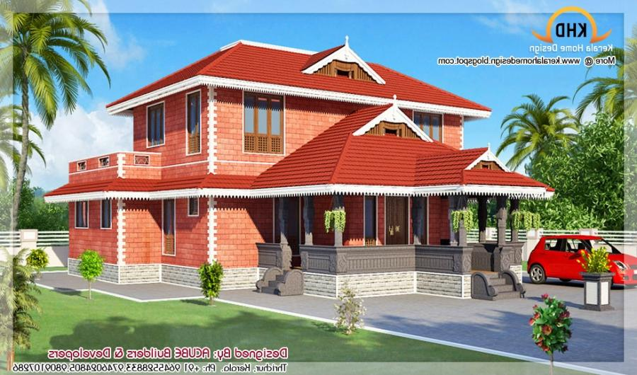 Kerala Style House Architecture - 186 Square meter (2000 SqFT.) -...