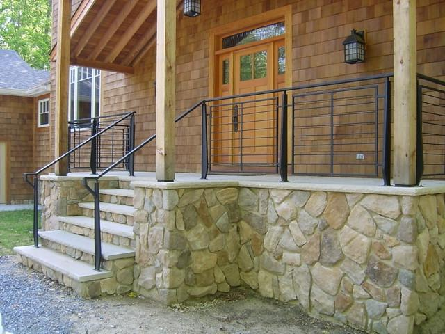 Wood railing and concreate steps