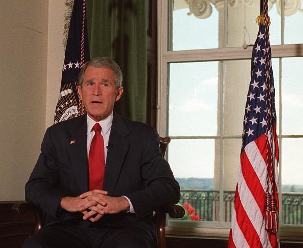 October 7, 2001: US President George W. Bush poses for...