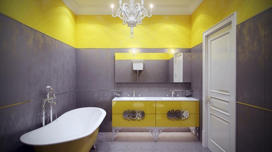 Yellow bathrooms photos for Bathroom ideas yellow and gray