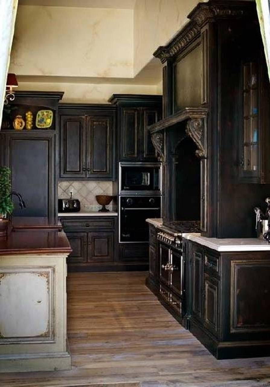 Kitchen Wonderful Elegant Distressed Black Kitchen Cabinets With