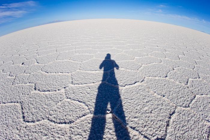 Long shadows at Salar de Uyuni, Bolivia - Worldu Largest Salt...