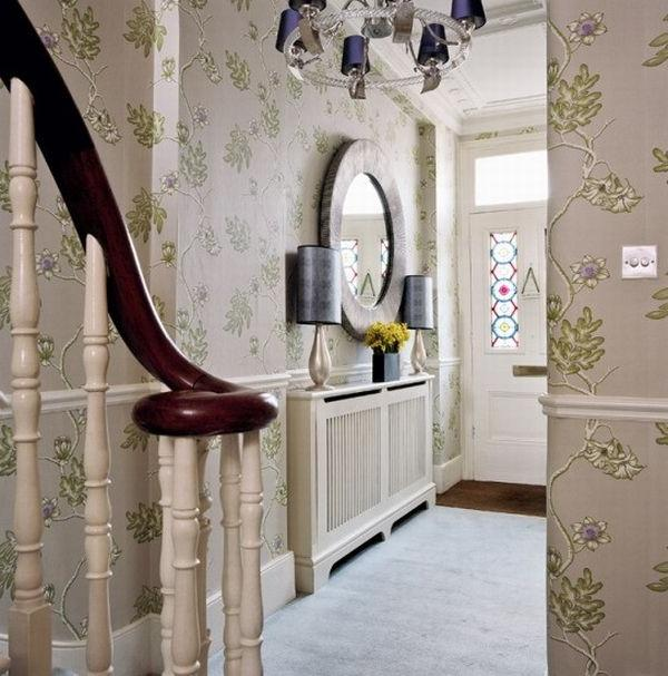 small hallway flower wallpaper art ideas