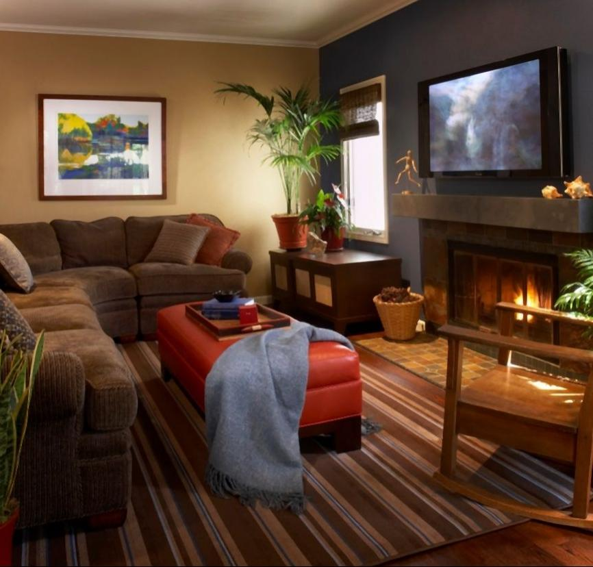 Warm cozy living room photos for Color designs for living room