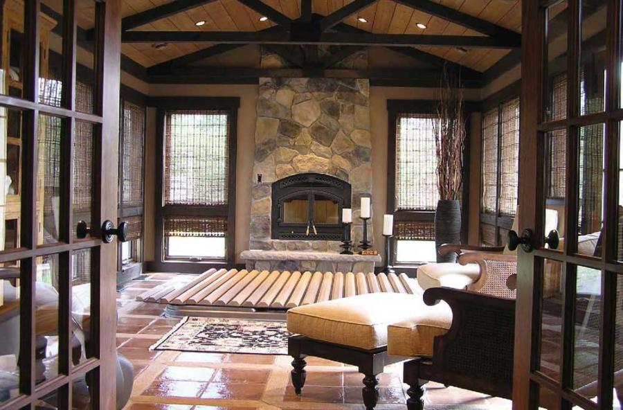 French Living Room Design with Fireplace